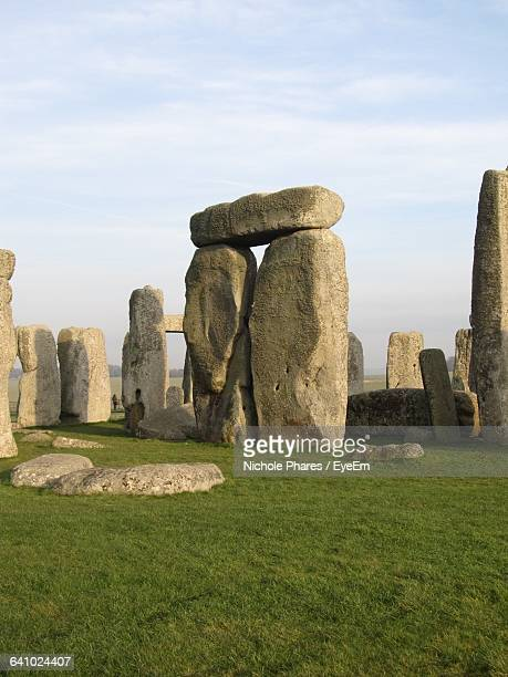Stones At Stonehenge Against Sky