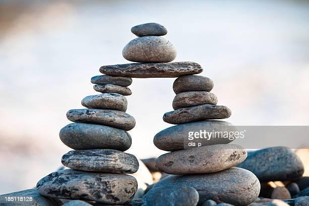 balance-Kiesel Steine Gestapelt