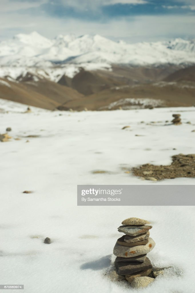 Stones balanced in the Himalayas : Stock Photo