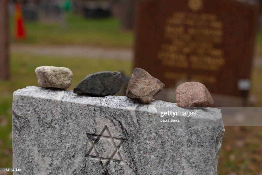 Stones on jewish grave : Stock Photo