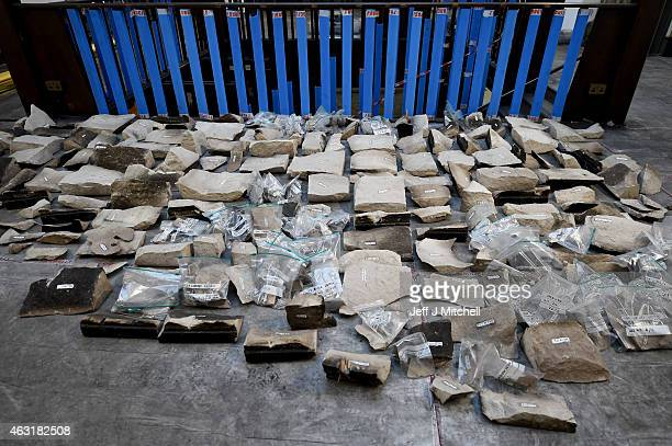 Stones removed from the Glasgow School of Art Mackintosh Library are numbered and documented on February 11 2015 in Glasgow Scotland Stabilising work...