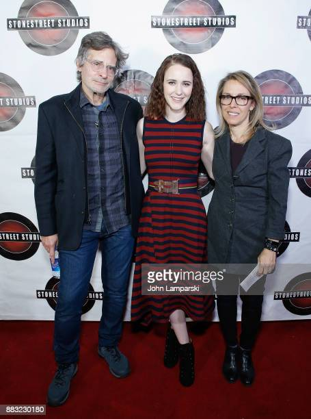 Stonestreet Studios founders Alyssa Rallo Bennett and Gary O Bennett join Rachel Brosnahn during the celebration of Rachel Brosnahan the recipient of...