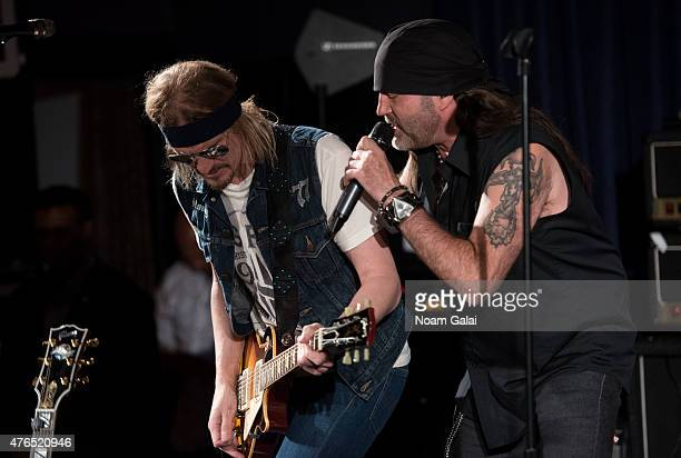 Stoney Curtis and Danny Koker of Count's 77 perform at Les Paul's 100th anniversary celebration jam session at Iridium Jazz Club on June 9 2015 in...
