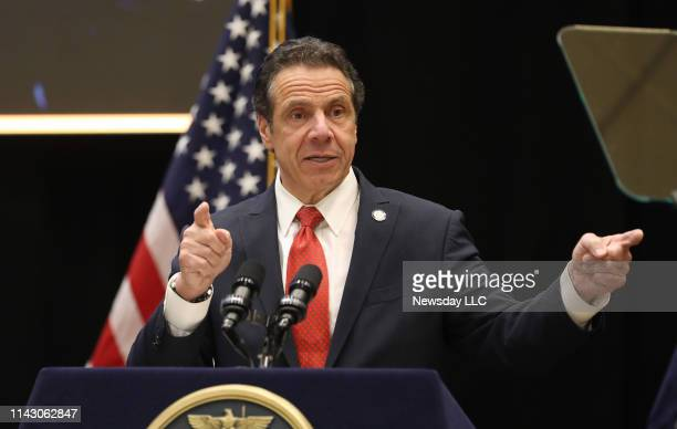 Gov Andrew Cuomo addresses a gathering of the Long Island Association on the campus of Stony Brook University in Stony Brook New York on April 11 2019