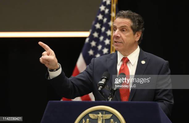 New York Gov Andrew Cuomo addresses a gathering of the Long Island Association on the campus of Stony Brook University in Stony Brook New York on...