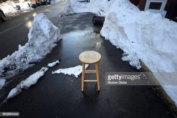 A stool serves as a 'space saver' for a parking spot on N Street in South Boston on Jan 9 2018 Boston has enforced a 48hour rule when it comes to...