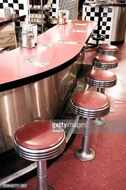 Stools and counter in diner, elevated view