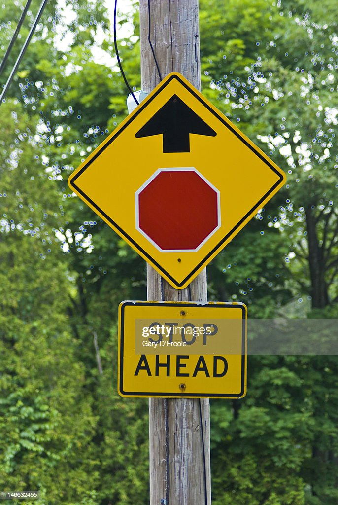 Stop Ahead Sign Stock Photo | Getty Images