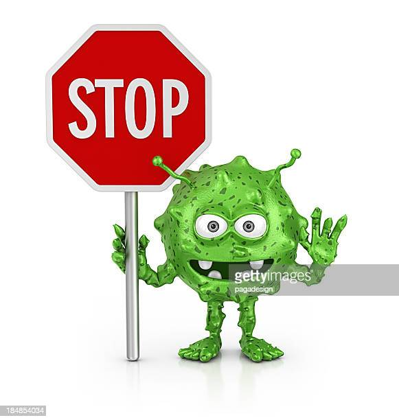 stop bacterium - cartoon stock pictures, royalty-free photos & images
