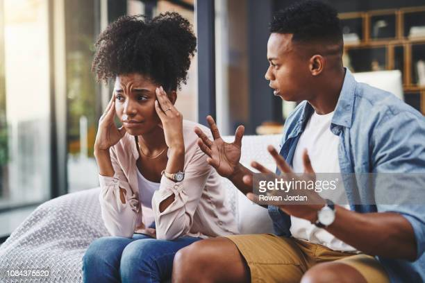 stop blaming everything on me! - cheating wives photos stock photos and pictures