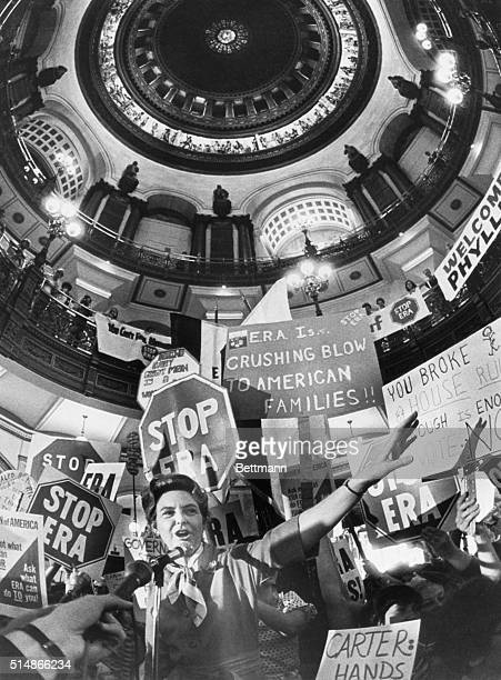 Stop ERA leader Phyllis Schlafly speaks at a rally in the Illinois State Capitaol rotunda