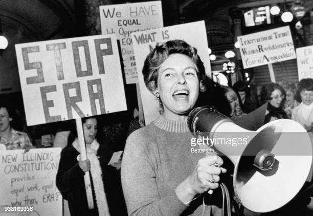 Stop ERA national Chairman Phyllis Schafly leads members opposed to the equal rights amendment in a song about the pro ERA forces plan for a national...