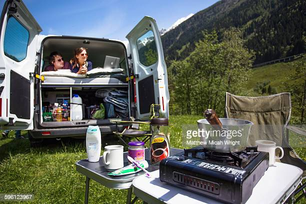 a stop for lunch in the austrian alps. - personal accessory stock pictures, royalty-free photos & images