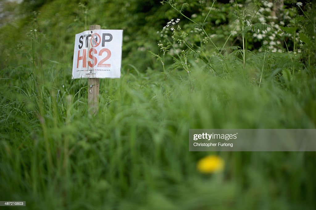 Stop HS2 signs mark the point where the proposed route of the new HS2 high speed rail link will pass through near to the village of Pickmere on April 28, 2014 in Knutsford, United Kingdom. The House of Commons will vote later today on the HS2 bill's second reading with 30 Conservative MPs threatening to vote against the Government's pro-HS2 stance.