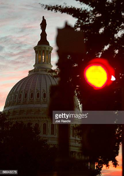A stop light is seen outside the Capitol building where earlier in the day Minority Leader Harry Reid forced the Republicancontrolled Senate into a...