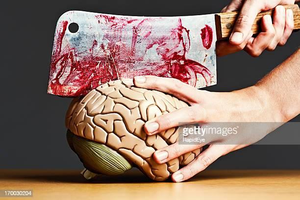 Aus messing mit meinem Kopf! Weibliche bloodily dissects Modell Gehirn