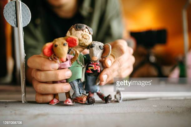 stop motion clay model dolls - making stock pictures, royalty-free photos & images