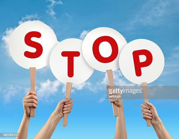 stop (停止) - ポール ストックフォトと画像