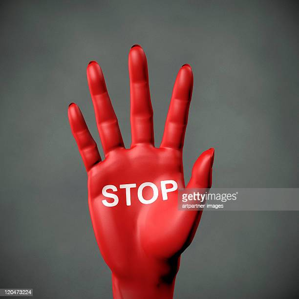 "Stop - Red Hand with inscription ""STOP"""