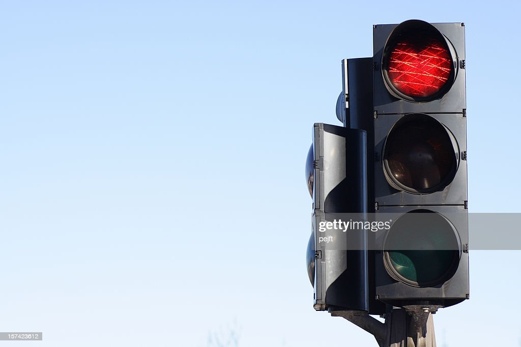 Stop - red traffic light with copy space : Stock Photo