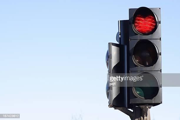 Stop - red traffic light with copy space