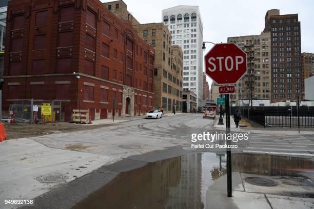 Stop road sign at Detroit city, Michigan, USA