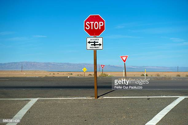 Stop Roadsign at Salton City California State USA