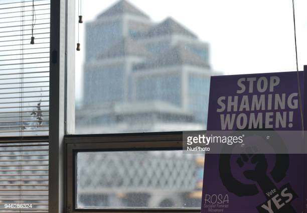 Stop Shaming Women poster seen during a Rally for Equality Freedom amp Choice organised by ROSA an Irish Socialist Feminist Movement at Liberty Hall...