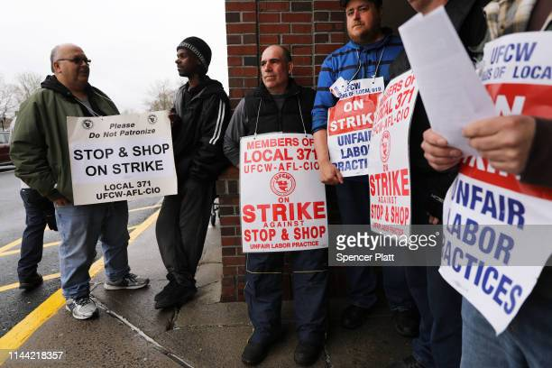 Stop Shop workers strike outside of one of the grocery stores on April 20 2019 in Westport Connecticut Negotiations between Stop Shop officials and...