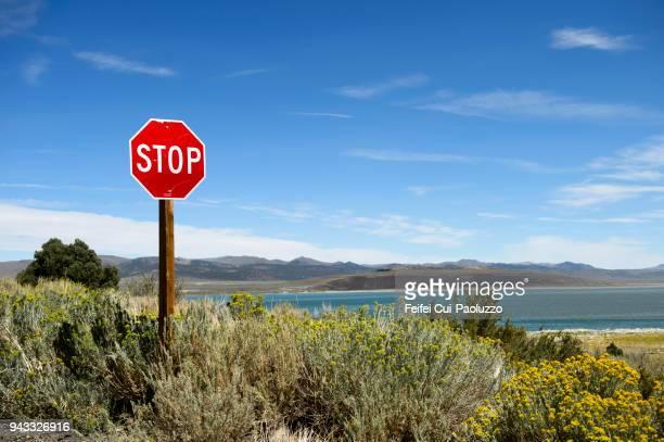 Stop sign at Mono Lake, California, USA