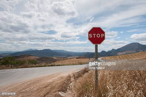 stop sign by a country road - dorte fjalland stock pictures, royalty-free photos & images