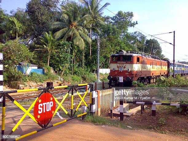 Stop Sign By Train Against Trees