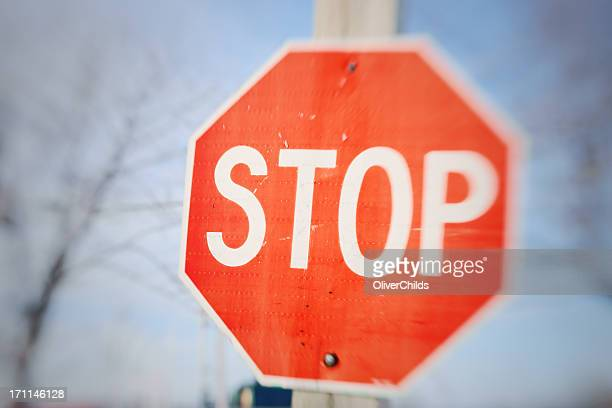 Stop sign, drunk driver's view.