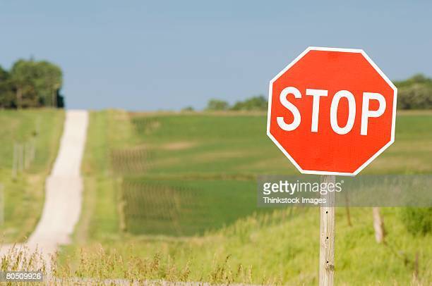 Stop sign on rural road