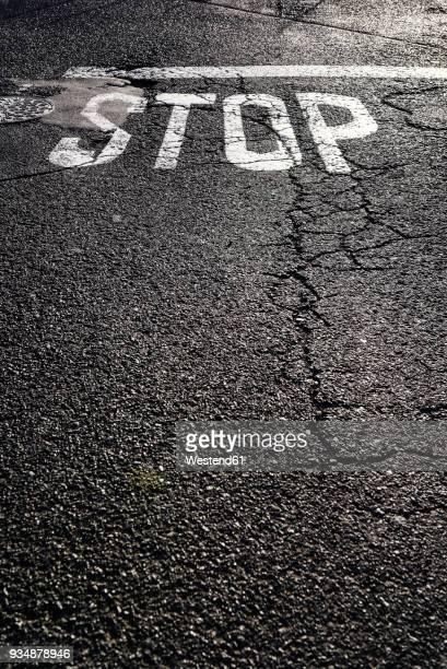 Stop sign on tarmac