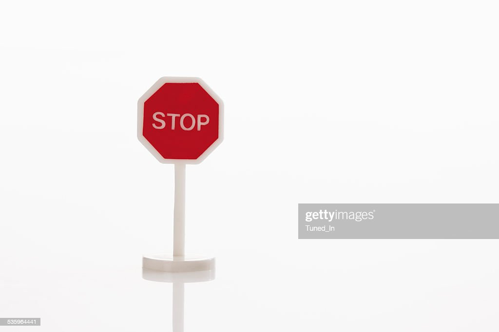 Stop sign on white background : Stock Photo
