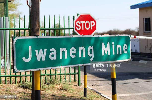 A stop sign stands at the entrance to the Jwaneng mine operated by the Debswana Diamond Co a joint venture between De Beers and Botswana's government...