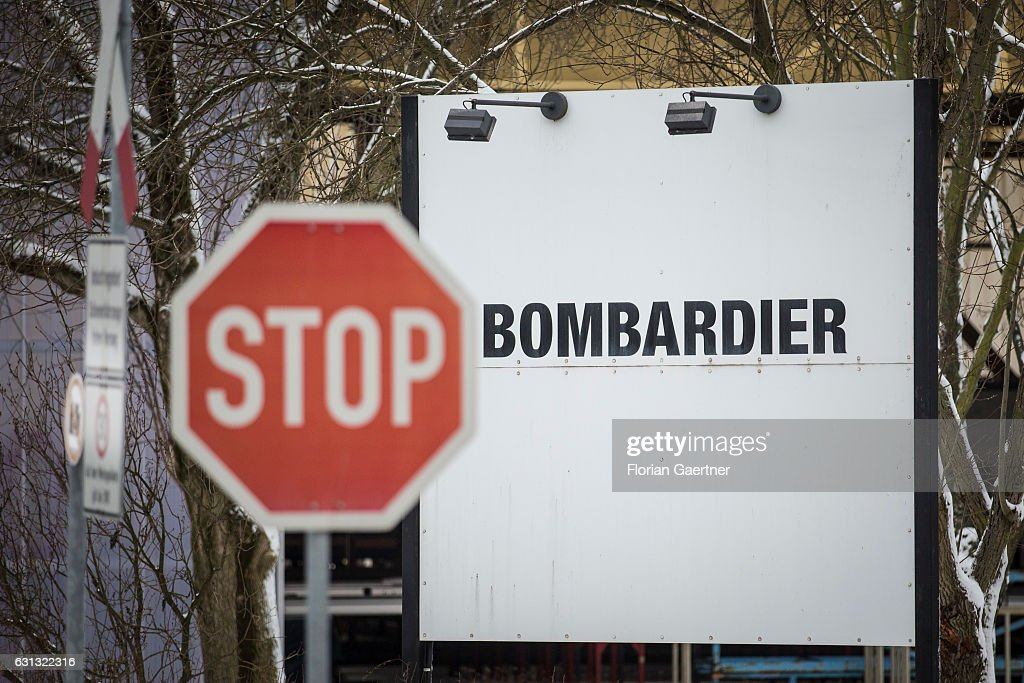 A Stop sign stands in front of the plant of Bombardier on January 09, 2017 in Bautzen, Germany. According to media reports Canadian train manufacturer Bombardier considers closing some of their plants in Germany.