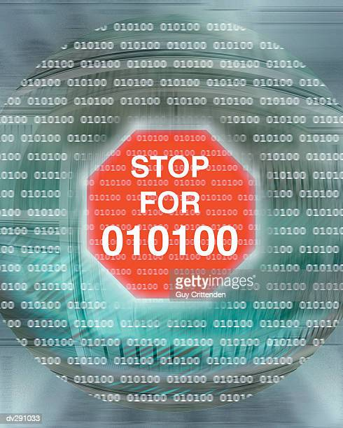 Stop sign with Stop for 010100 text in sphere
