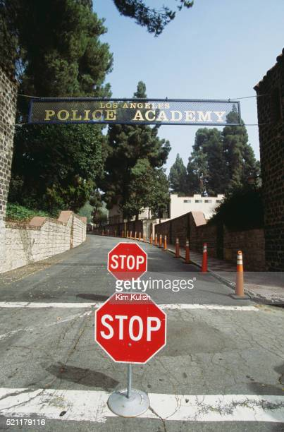 stop signs at los angeles police academy entrance - los angeles police department stock pictures, royalty-free photos & images