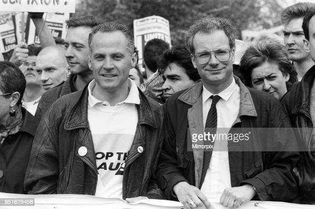 Stop the Clause Gay rights demonstration. Michael Cashman and Chris Smith, 30th April 1988.