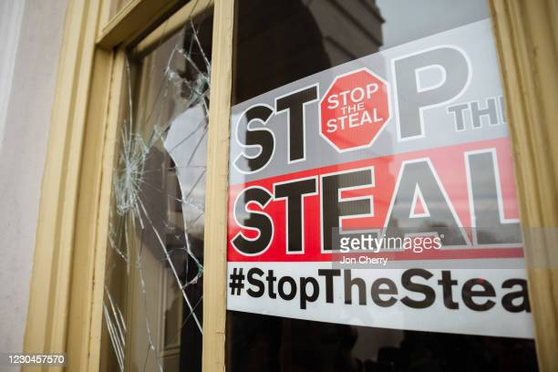 Stop The Steal is posted inside of the Capitol Building after a pro-Trump mob broke into the U.S. Capitol on January 6, 2021 in Washington, DC. A...