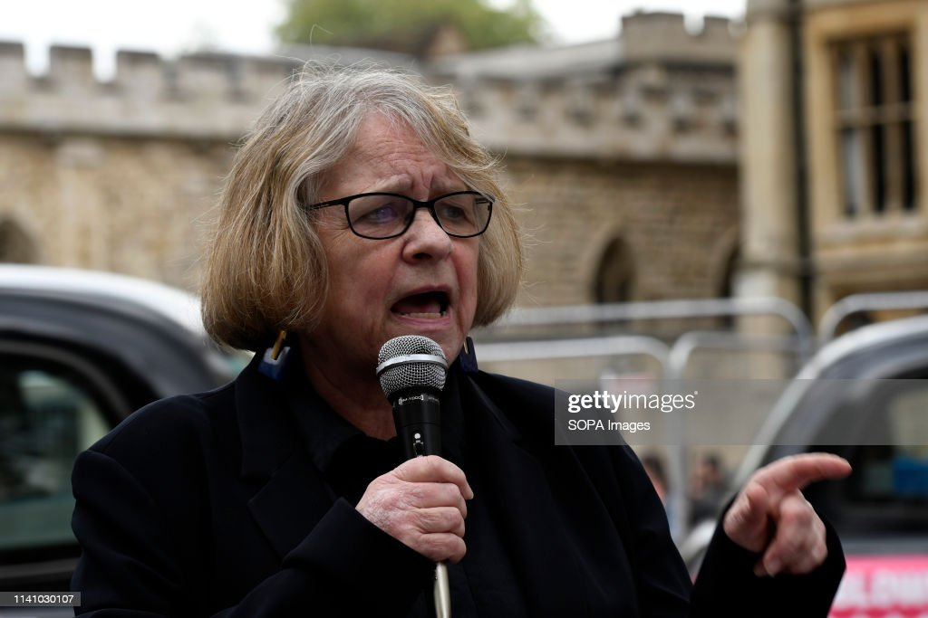 Stop the War Coalition, Lindsey German seen speaking during... : News Photo