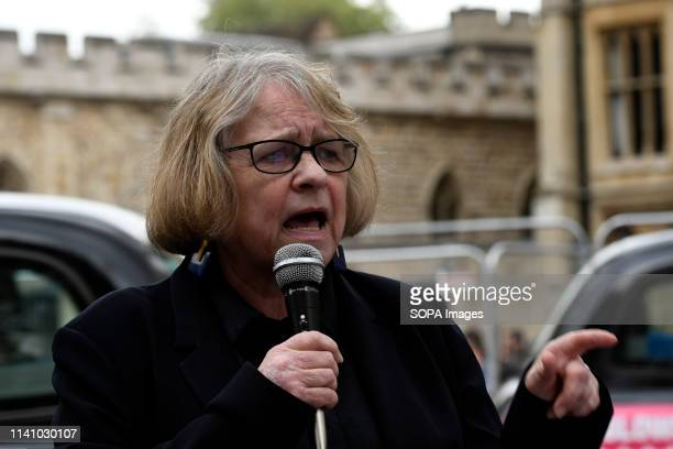 Stop the War Coalition Lindsey German seen speaking during the protest Antinuclear activists gathered opposite Westminster Abbey in London to protest...