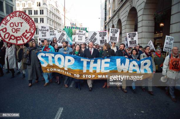 Stop the War demonstration passes The Ritz Hotel Piccadilly London Amongst the members of the Stop the War committee leading the demonstration were...
