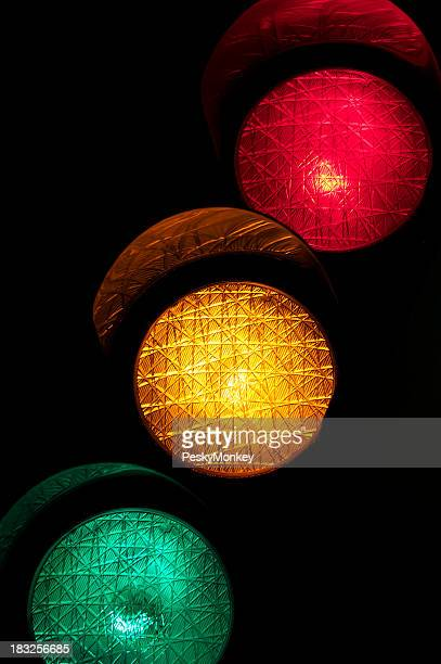 Stoplight Red Yellow Green Black Background
