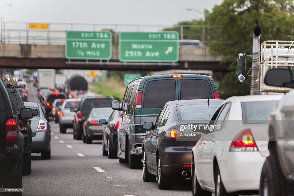 stopped inbound chicago traffic jam : Stock Photo