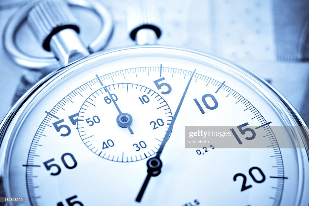 stopwatch closeup with high contrast : Stock Photo