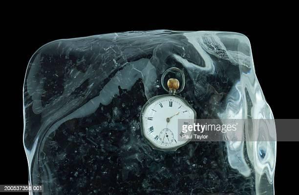 Stopwatch in block of ice