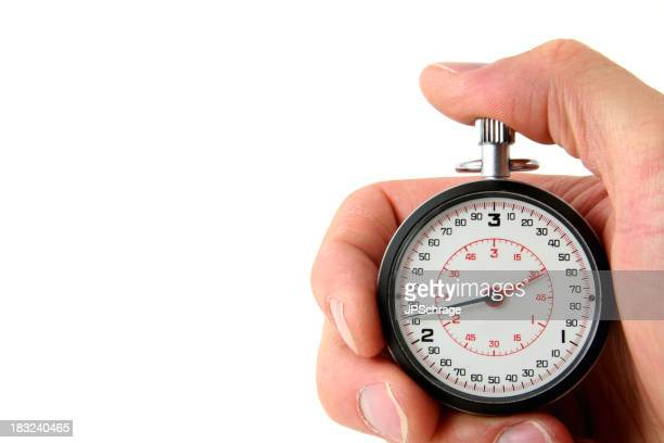 Stopwatch in hand on white background
